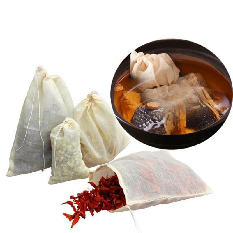 Wholesale Hot Sale Portable 100pc 8x10cm Cotton Muslin Reusable Drawstring Bags Packing Bath Soap Herbs Filter Tea Bags