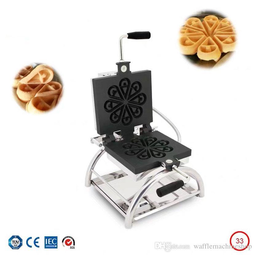 Ticari Döner Çiçek Waffle Kek Makinesi Kahve Dükkanı Pasta Kek Aperce Pişirme Ekipmanları Su Damla Şekilli Waffle Makinesi