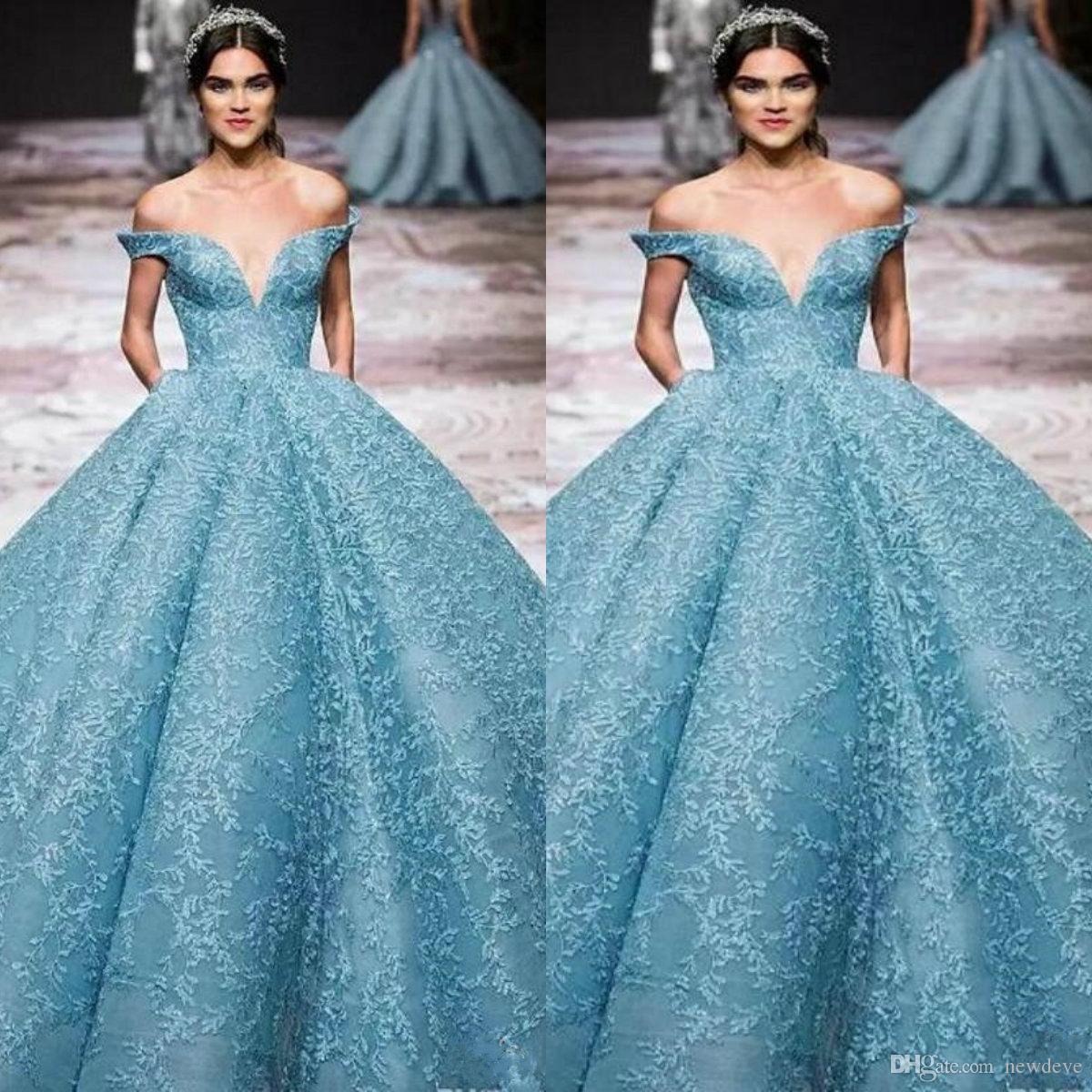 Elie Saab 2019 Abendkleider Off The Shoulder Tiefer Ausschnitt Spitze Ballkleid Abendkleid Benutzerdefinierte bodenlangen Kleider für besondere Anlässe