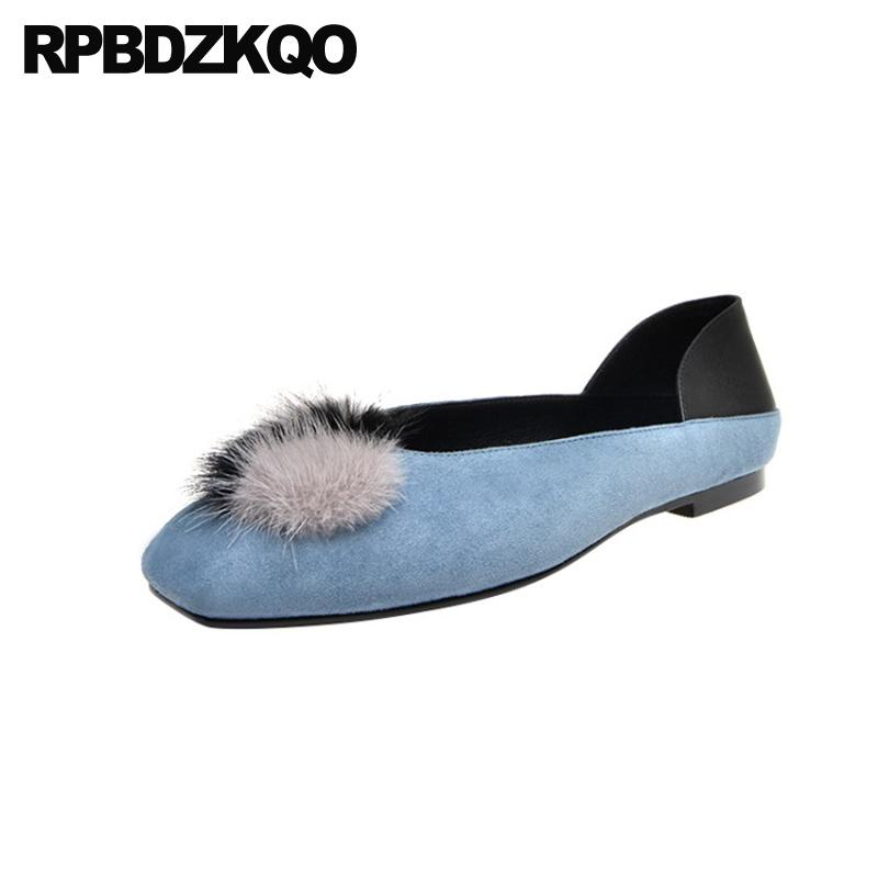 mulheres senhoras bonitas apartamentos sapatos azul china preta mais recente deslizamento na pele quadrado toe fábrica de camurça genuína direta