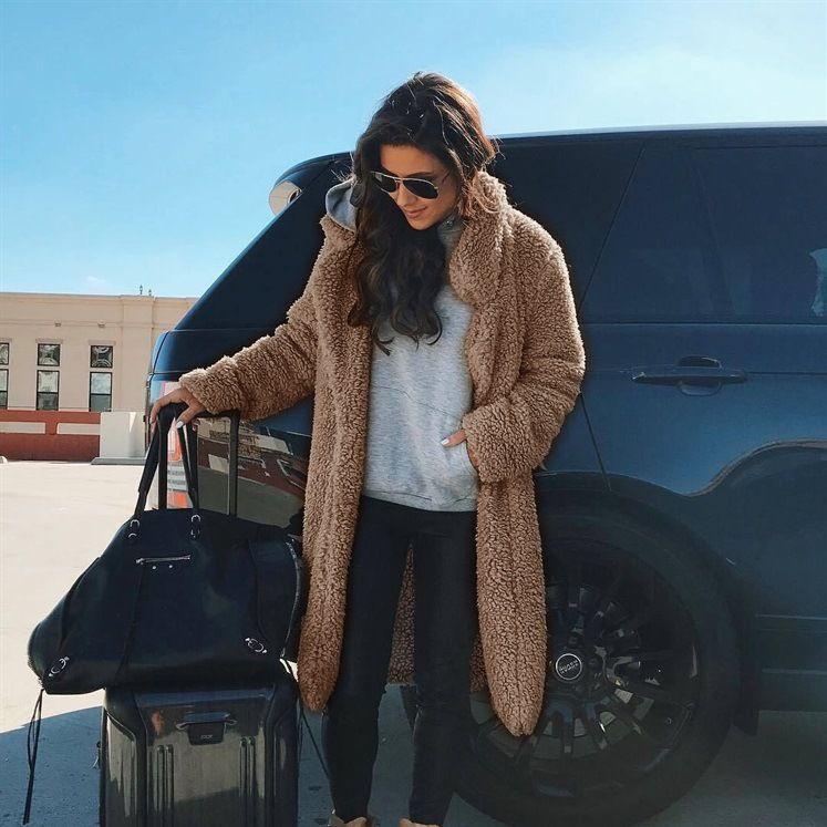 النساء أزياء الشتاء التلبيب الرقبة جيوب سميكة الدافئة معاطف الفراء فو مزاج الصلبة طويل أفخم المعاطف أنثى الملابس