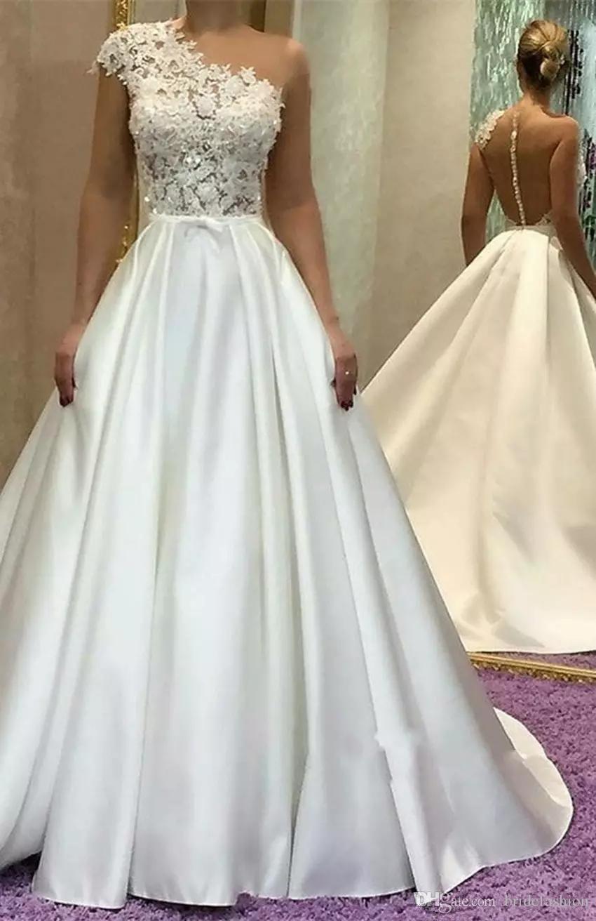 DiscountGorgeous One Shoulder A Line Wedding Dresses Lace Princess ...