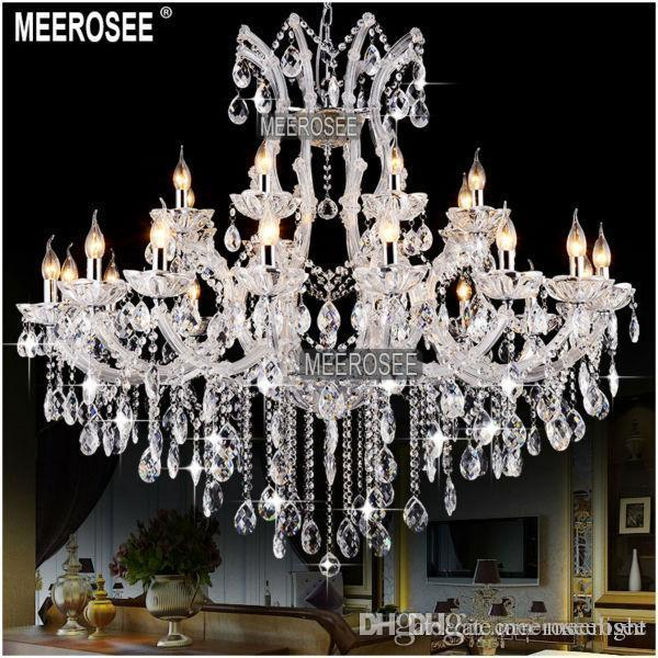 Large 24 Lights Massive White Chandeliers Crystal Clear Vintage chrystal chandelier Hotel Lighting Pendelleuchte lamp for Home decor