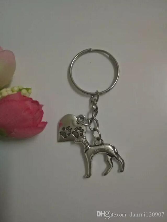 Hot Greyhound Dog&Heart-Cat/dog paw Keychain-Fashion jewelry Tibetan silver charm pendant key chain ring DIY Fit Keychain - 123