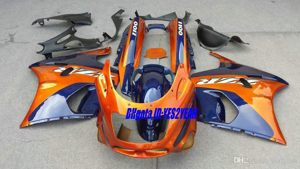Wróżki Zestaw do Kawasaki Nija ZZR1100 93 95 96 99 00 01 Nadwozie ZX11 1993 2001 ZZR1100D Orange Cyan Coring Body Kit + Gifts Zdep38
