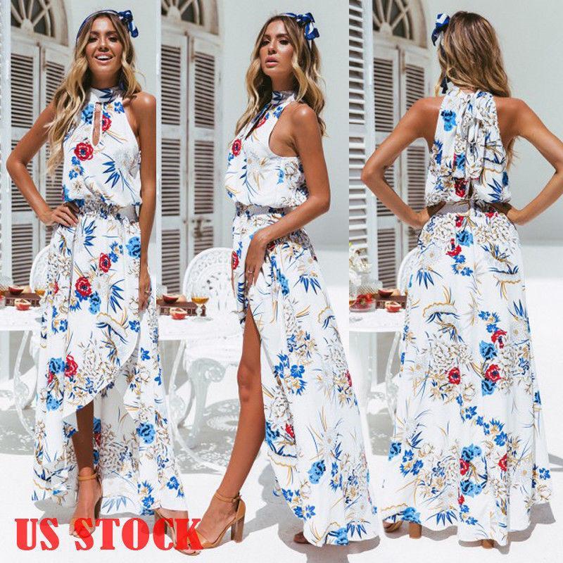 Mujeres Vestidos largos largos Bohemia Halter Sin mangas Estampado floral Étnica Verano Playa Mujer Split Estilo elegante Vestido