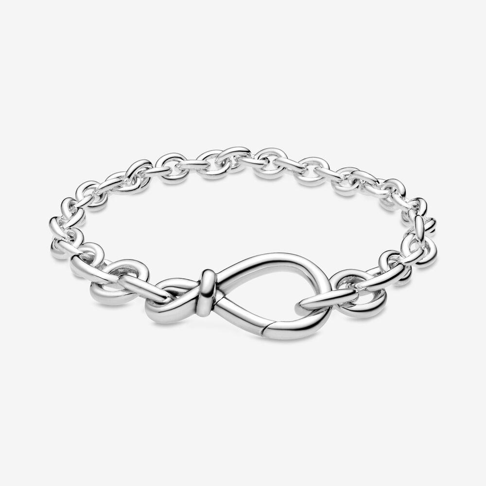 Kadınlar Lüks Takılar Sevgililer Günü Hediyesi için yeni Anlar Chunky Zincir Bileklik 925-Sterling-Gümüş Infinity Düğüm Zincir Bileklik