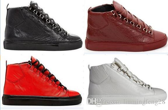Balenciaga Cuir modèles de marée haute chaussures de sport des femmes des hommes Arena chaussures de coureur de course usine chaussures de mode lacets directs