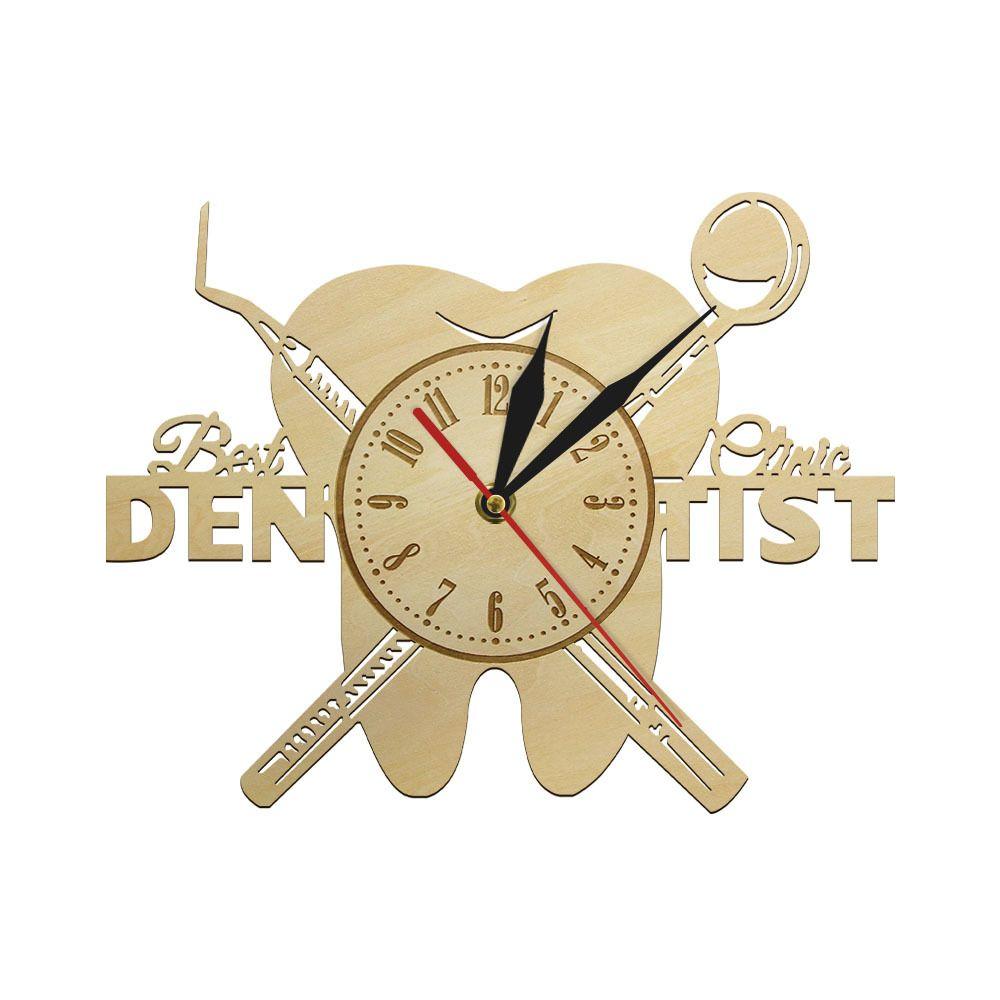 Teeth Dentist Wall 3D Retro Wood Hanging Clock Quiet Sweep Quartz Watch Thank you Dentist Reloj Pared Dentistry Dental Gag Gift Y200109
