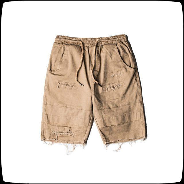 2020 Hip Hop del nuevo del verano pantalones cortos para hombre Moda Casual GD KANYE Negro Green Hole cortocircuitos del tamaño S-2XL