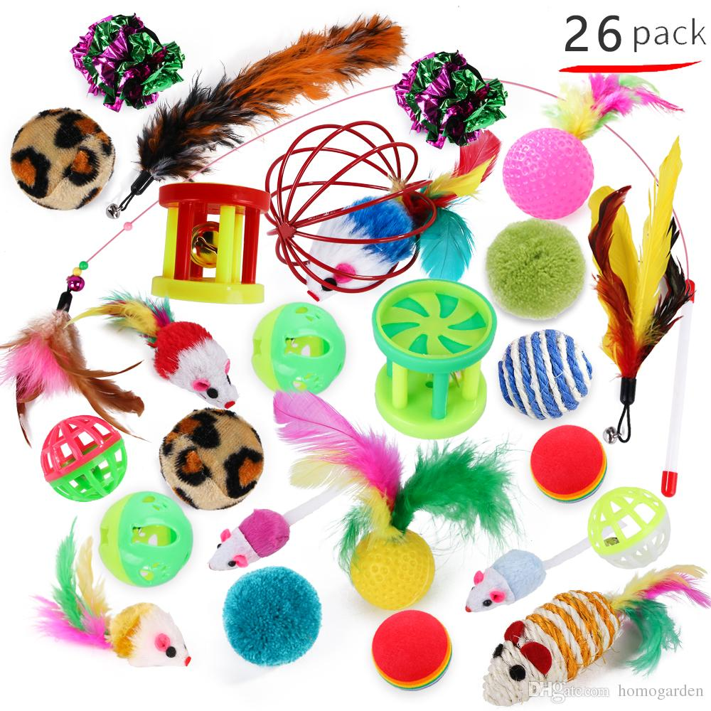 Cat Toy 26Pcs/Set Pet Kit Collapsible Tunnel Cat toy Fun Bell Feather Mice Shape Pet Kitten Dog Interactive Play Supplies