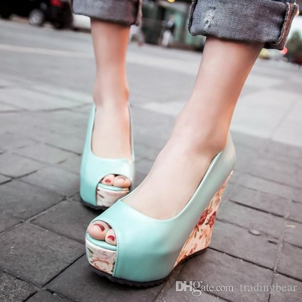 Plus size 34 to 40 41 blue floral prints peep toe high heel platform wedge shoes white blue pink 3 colors
