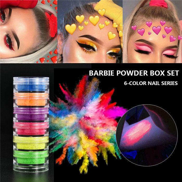 Неон Loose Powder 6 цветов Eyeshadow пигмента Матовый Минеральное Spangle ногтей порошок Макияж Тени для век