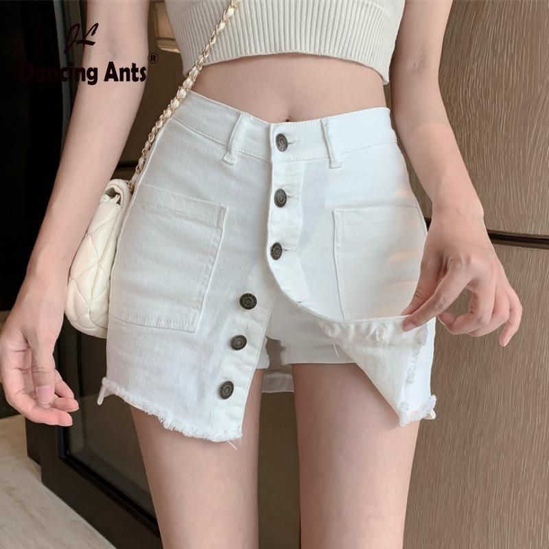 Frauen A-Linie Denim Röcke mit hoher Taille Einreiher koreanische dünne Halblangen Rock 2020 Sommer Femme Art und Weise beiläufige kurze Röcke