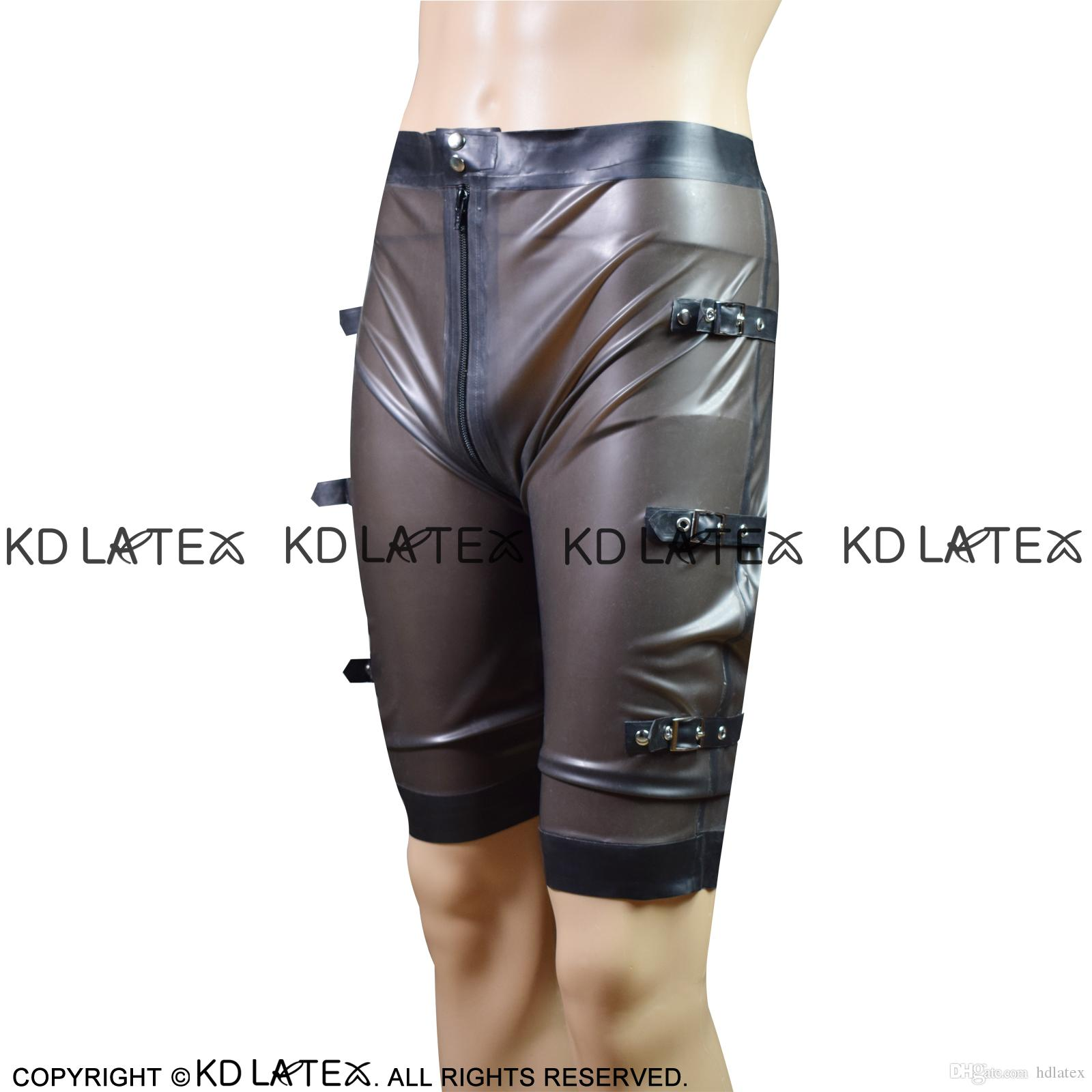 Transparent Black With Black Sexy Latex Boxer Shorts With Belts At Two Sides Zipper Rubber Underpants Underwear Pants DK-0123