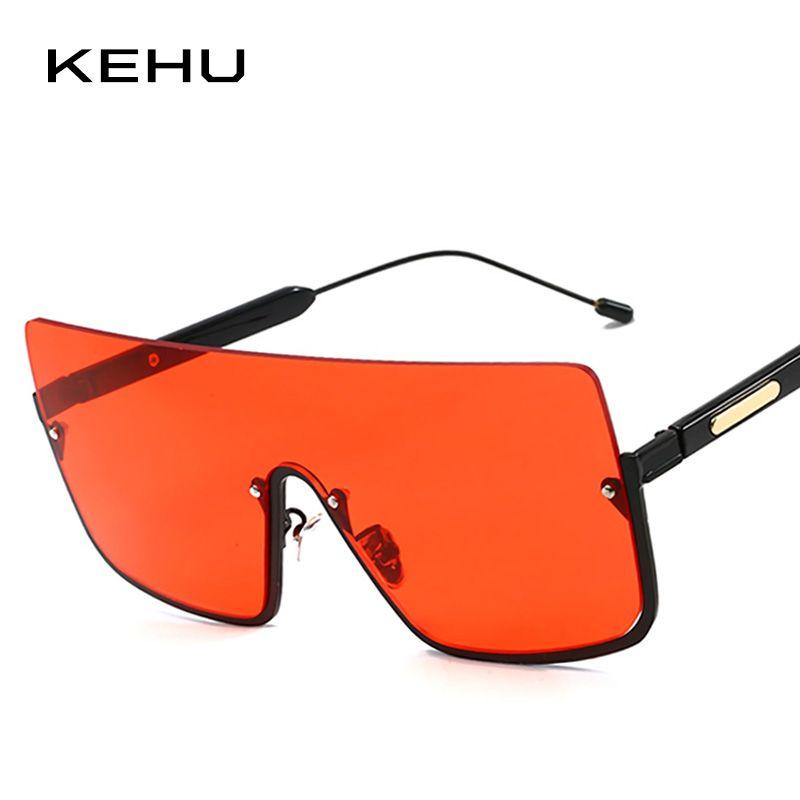 Toptan Moda Kare Güneş Kadınlar Marka Yarı Çerçevesiz Güneş Gözlükleri UV400 Kırmızı Mavi Lens Bayanlar Shades Gözlük K9998