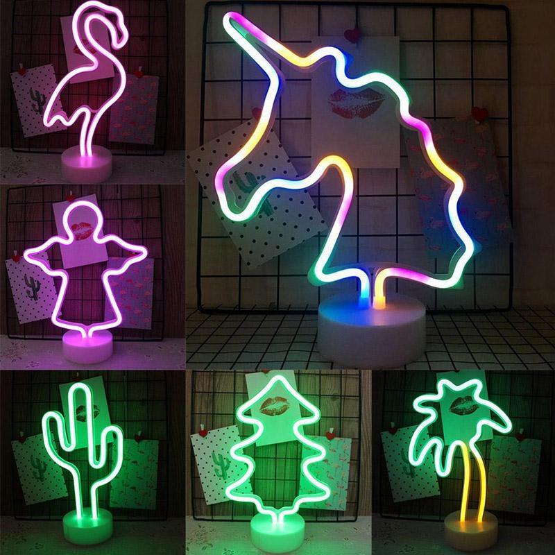 집에서 BRELONG LED 네온 밤 빛 플라밍고 유니콘 달 천사 파티 웨딩 장식 어린이 방 장식