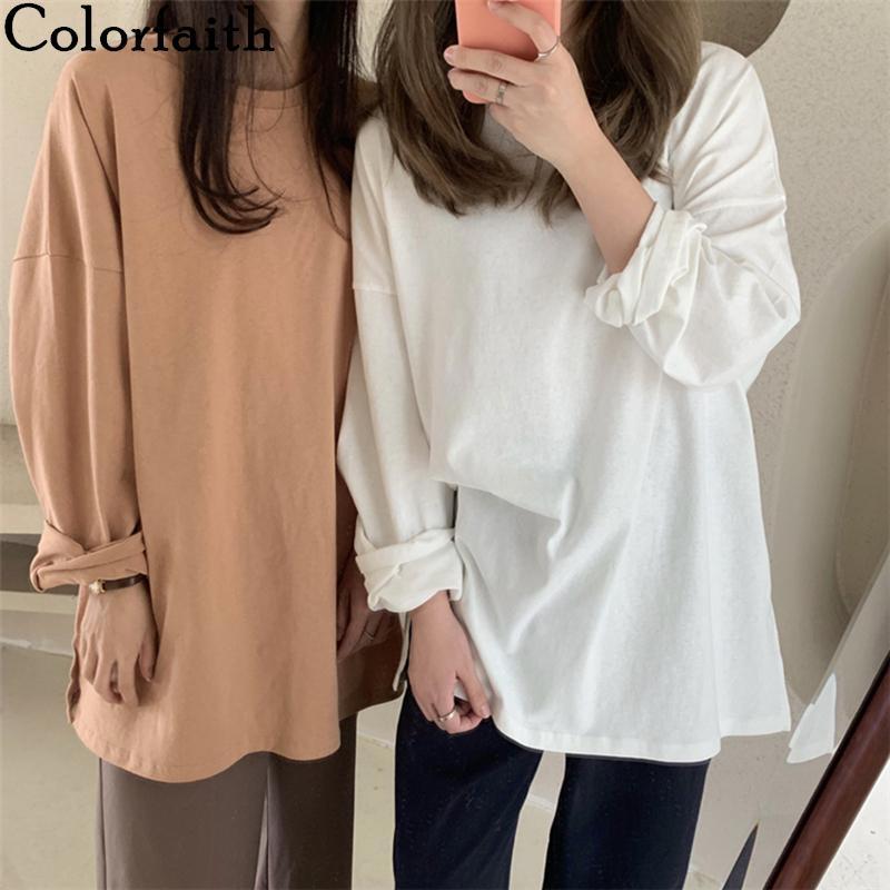 2020 nouvelles femmes Printemps desserrées T-shirts manches longues solide talonnage Casual coréenne Style Minimaliste Triko T-shirts Hauts T601 Blanc T-shirts