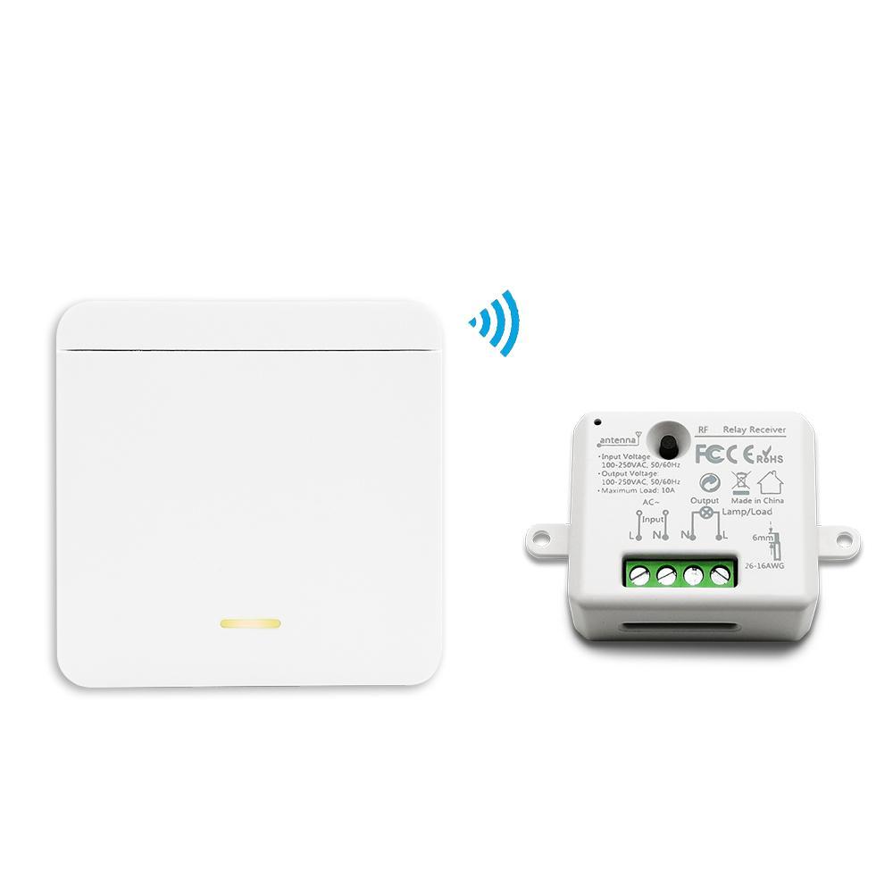 Sem fio Luz Wall Switch Remote Control 2500W tamanho minúsculo receptor relé disjuntor 30m Sem Fio Obrigatório pode colocar Mudar qualquer lugar T200605