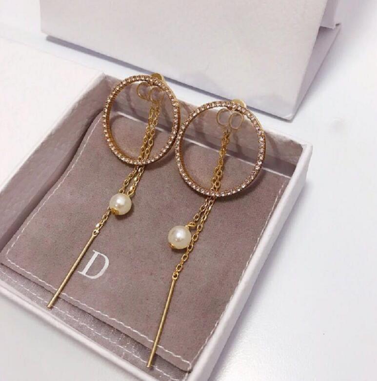 Роскошные ювелирные изделия Дамы серьги качества D дизайнер топ высокого класса новый жемчуг кисточкой стиль моды красочные алмазов ретро кольцо уши 01