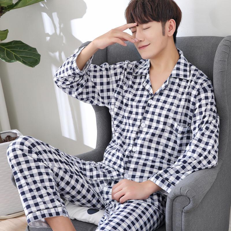 Мужские пижамы Мужские пижамы хлопка пижамы зима пижама Reloj хомбре пижамы полосатый Конгресс пижамы пижамы плюс размер Y200422