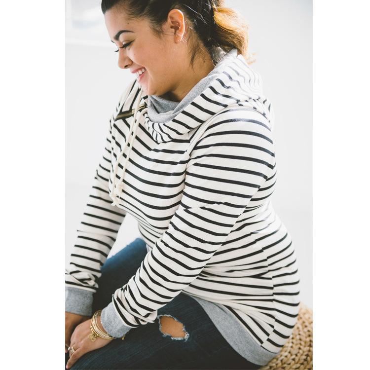 Moda-r ropa de moda para mujer 2017 nueva sudadera caliente con doble capa con capucha mujer a rayas de manga larga polar jersey RF0138