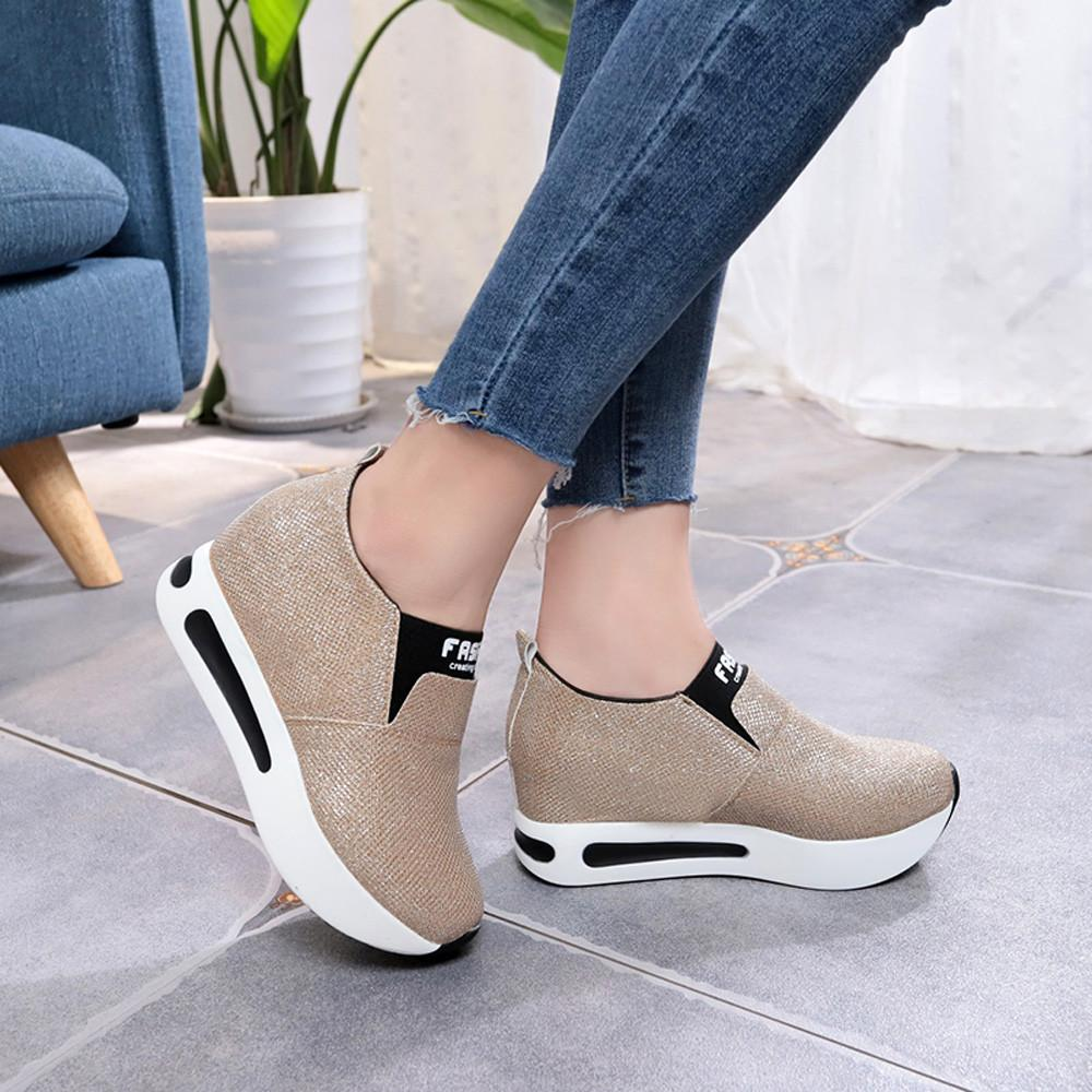 2019 Women shoes ladies Flat Thick Bottom Shoes Slip On Ankle Boots Casual Platform Sport Shoes ????? ??????? ????????#B35