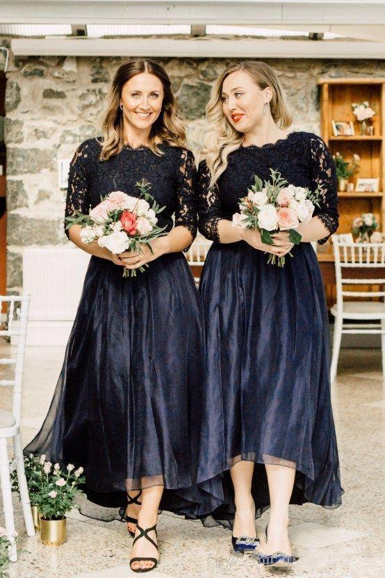 Elegant Plus Size Black Hi-Lo Bridesmaid Dresses Jewel Neck Half Sleeve Lace Top A-Line Maid of Honor Dress Organza Short Prom Gowns 52