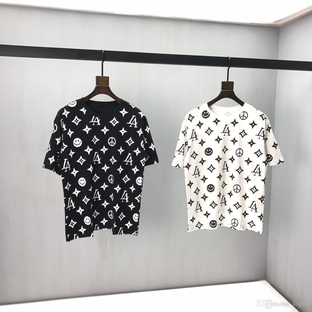 2020ss primavera y el nuevo algodón de alto grado del verano impresión de manga corta ronda panel de cuello de la camiseta Tamaño: M-L-XL-XXL-XXXL Color: negro blanco x5Vv9