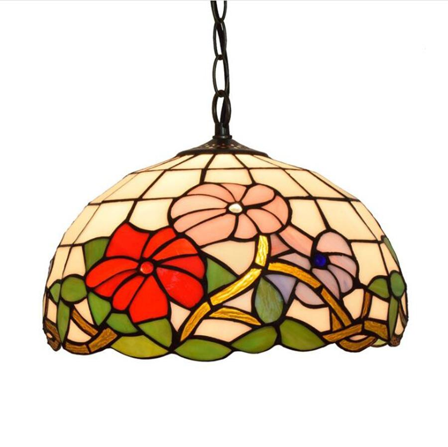 مصابيح الباروك زهرة نمط زجاج ملون تيفاني مصباح قلادة لتناول الطعام بار غرفة نوم دراسة قلادة زجاج ضوء