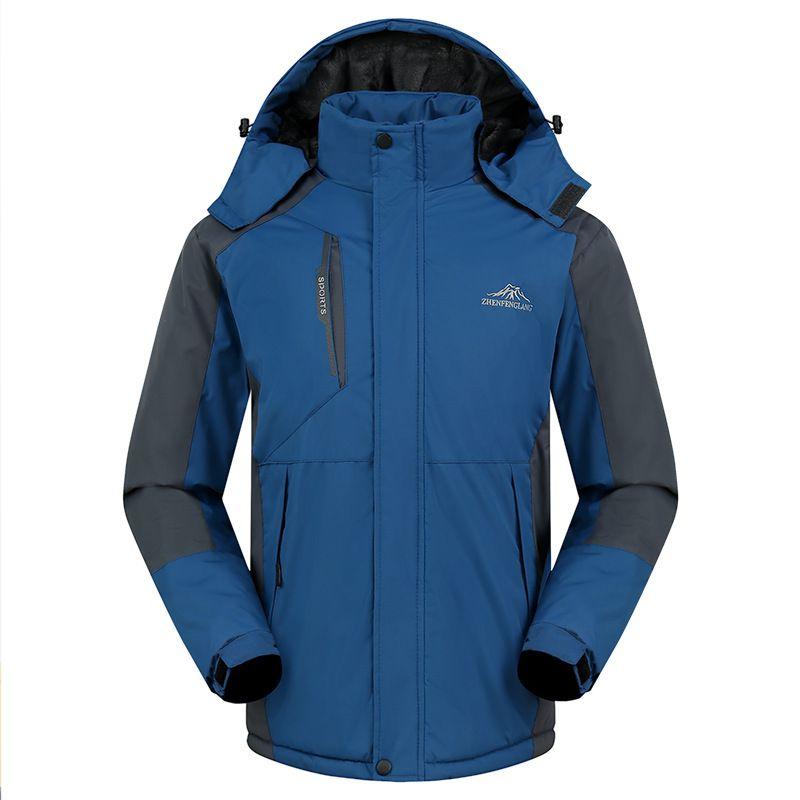 Transfronteiriça homens de desgaste ao ar livre além de veludo Waterproof Quente Outono E Inverno de algodão acolchoado roupa Raincoat Jacket Jersey Ski S