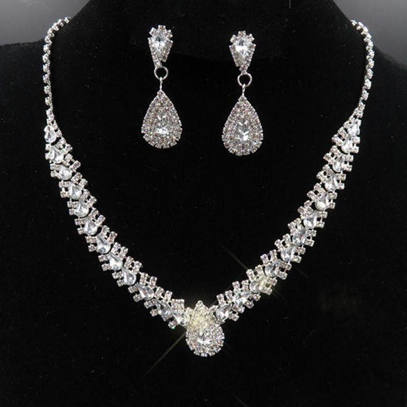 Luxus Brautschmucksachen mit Kristallen Halskette Ohrstecker Hochzeit Schmuck Sets für Braut Brautjungfern Abend Prom Party Zubehör