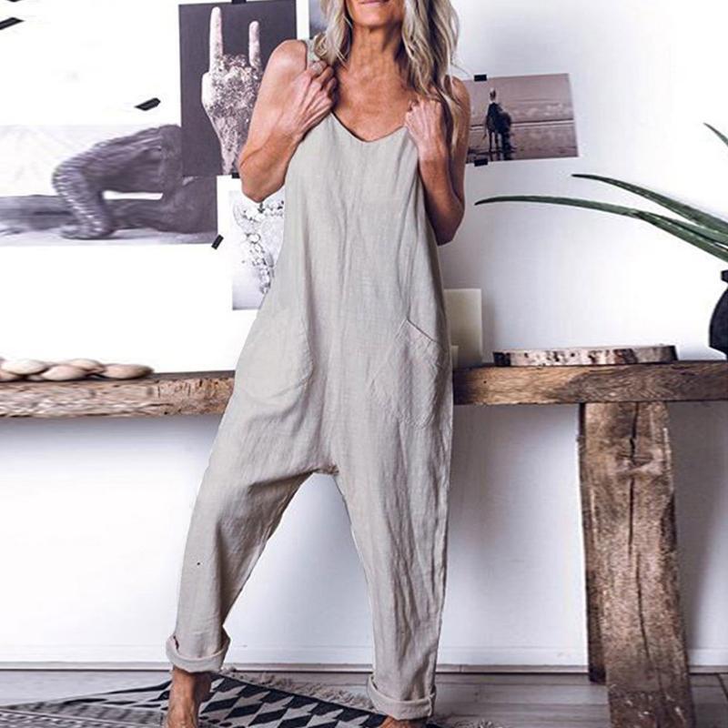 Mulheres Algodão Linho Pockets Sólidos Macacão Sleevelss casual solta macacões perna larga Romper Harem Pants Feminino # T20