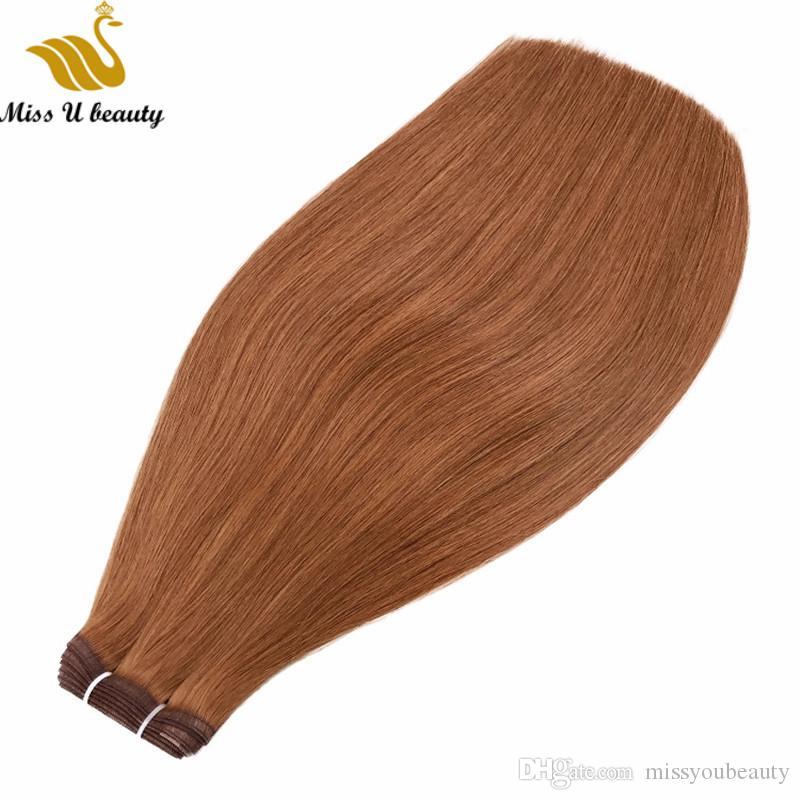 İpek Atkı Saç Uzantıları En Nefes Saç Paketler Ultra İnce örgüleri Atkı Remy Virgin İnsan Saç 200gram Siyah Kahverengi Sarışın Renk