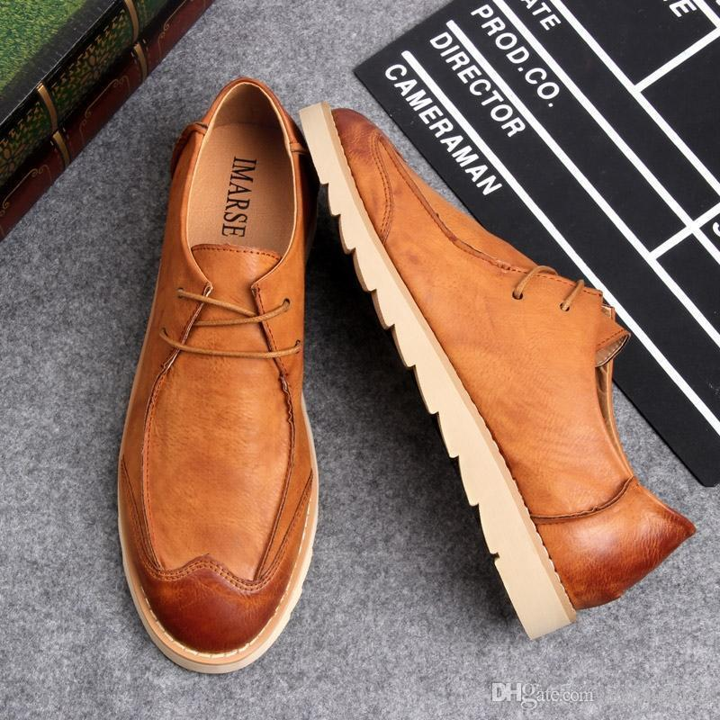 Mode Nizza New Herbst Retro British Leather Shose-Mann-Ebene Mode Low-beiläufige Schuh-Mann-Müßiggänger Oxford-Schuhe für Mode