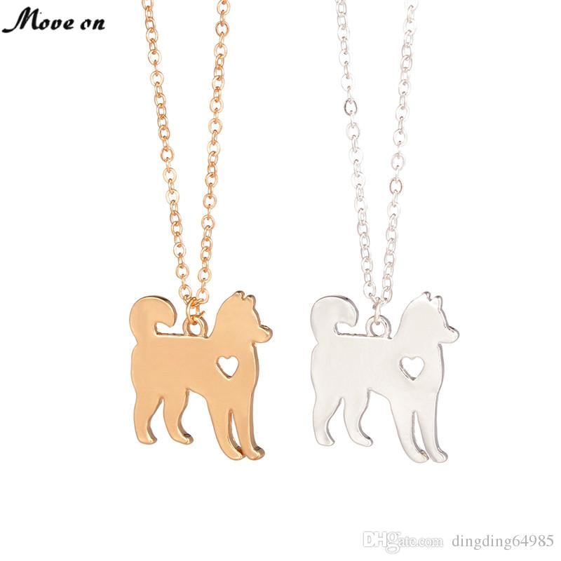 Gold Silver Plated Husky Dog Pendant Chain Necklaces Animal*Couples Jewelry\