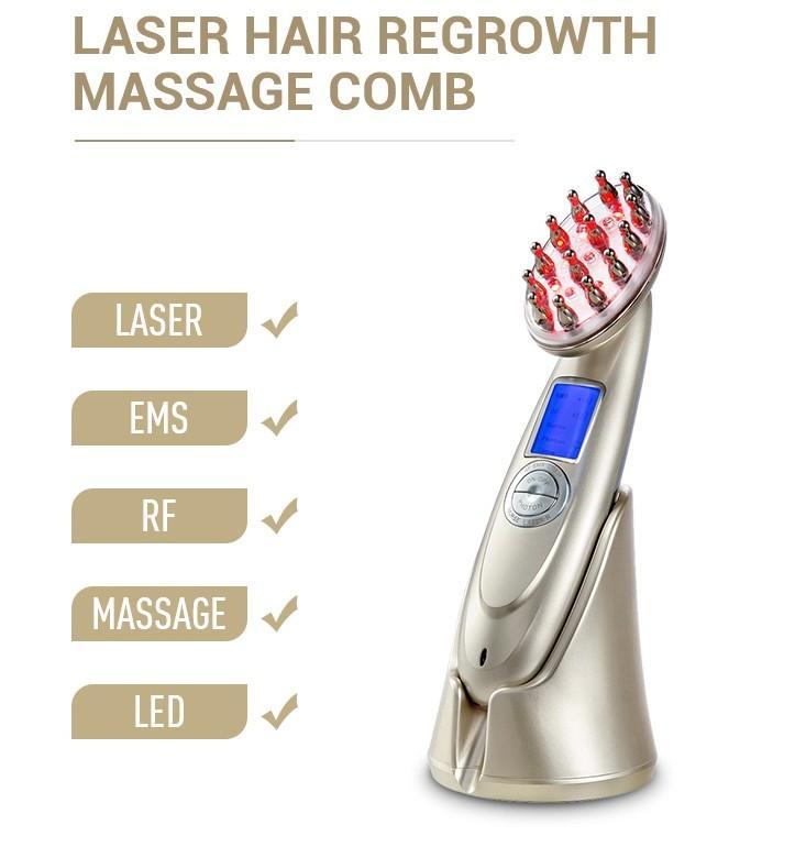 LED مكركرنت الشعر بالليزر إعادة نمو مشط فرشاة RF ترددات الراديو فقدان فوتون المضادة الشعر علاج فروة الرأس مدلك مشط آلة الجمال
