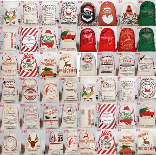 2020 New Christmas Gift Bags Large Organic Heavy Canvas Bag Santa Sack Drawstring Bag With Reindeers Santa Claus Sack Bags for kids gifts