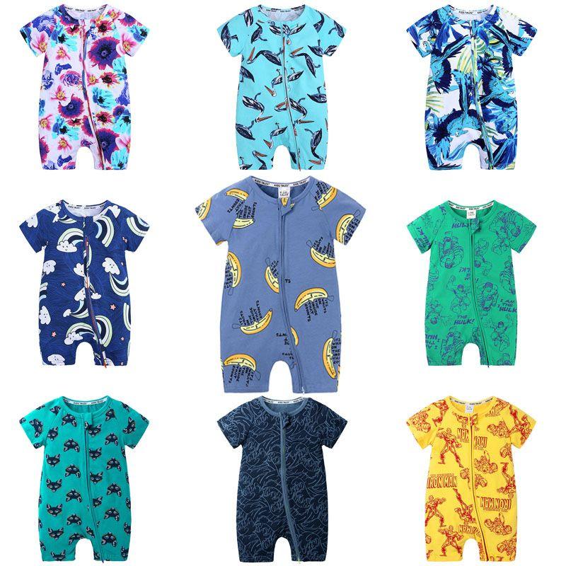 아기 꽃 인쇄 rompers 30 디자인 동물 심장 인쇄 반소매 jumpsuit 소년 여름 복장 면화 0-3t 04