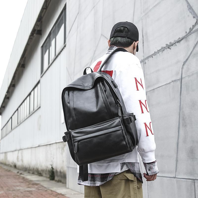 2019 USB invierno personalizado nuevo recorrido de la manera de carga retro doble cremallera mochila bolsa de bolsa Colegio de Estudiantes Bolsa de hombro doble de los hombres