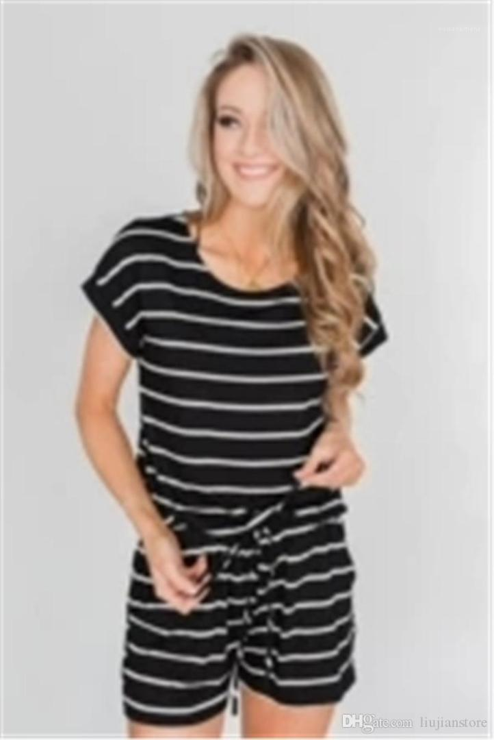 Womens Tracksuits Crew Neck Sport Short 2Pc Set Casual Holiday Ladies Tracksuits Summer Striped Printed