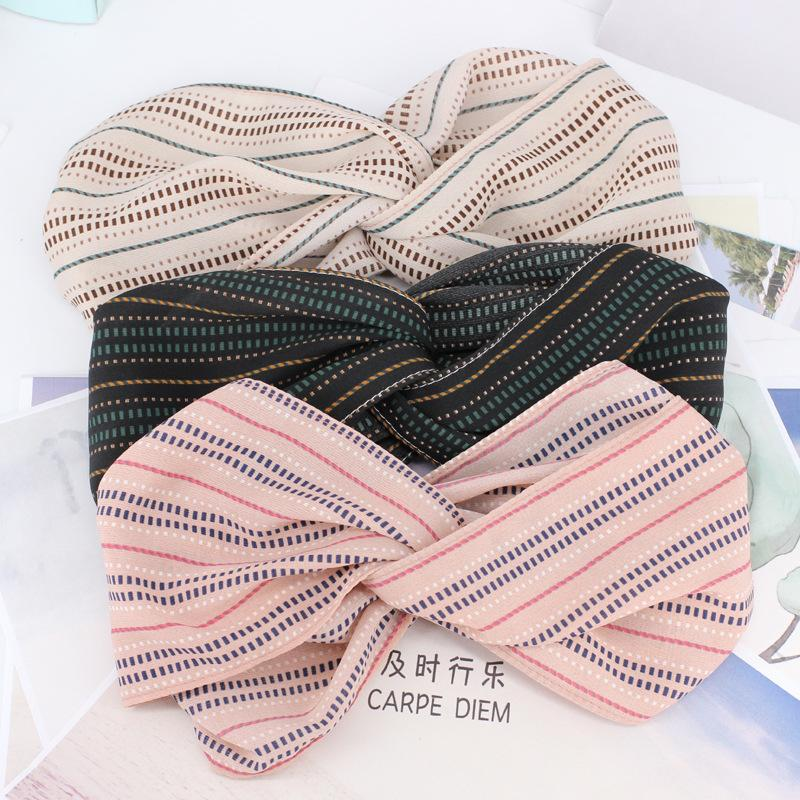3pcs/lot Dotted Line Elastic Headbands For Girls Stretch Wide Yoga Headwrap Dots Stripes Hair Bands Women Hair Accessories Adult