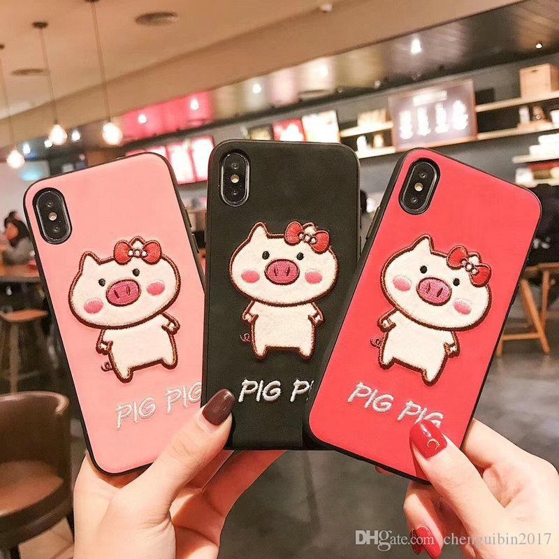 simpatica cover per telefono maialino per iphone Xs max Xr X 7 7plus 8 8plus 6 6plus TPU + PC