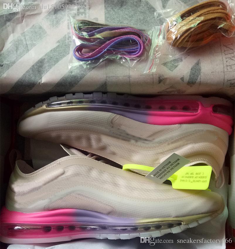 Date Max 97 hors balles élémentaire Rainbow chaussures de course Hommes Femmes Air Cushion en plein air chaussures de sport occasionnels size36-45