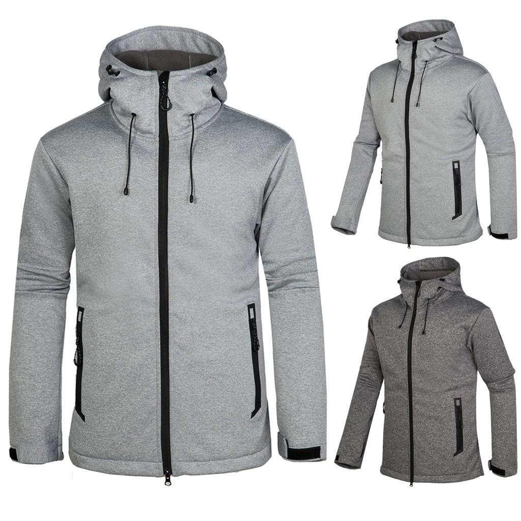 Hiking Jackets Solid Hooded Mens Autumn Winter Casual Fashion Waterproof Keep-warm Sport Outdoor Coat