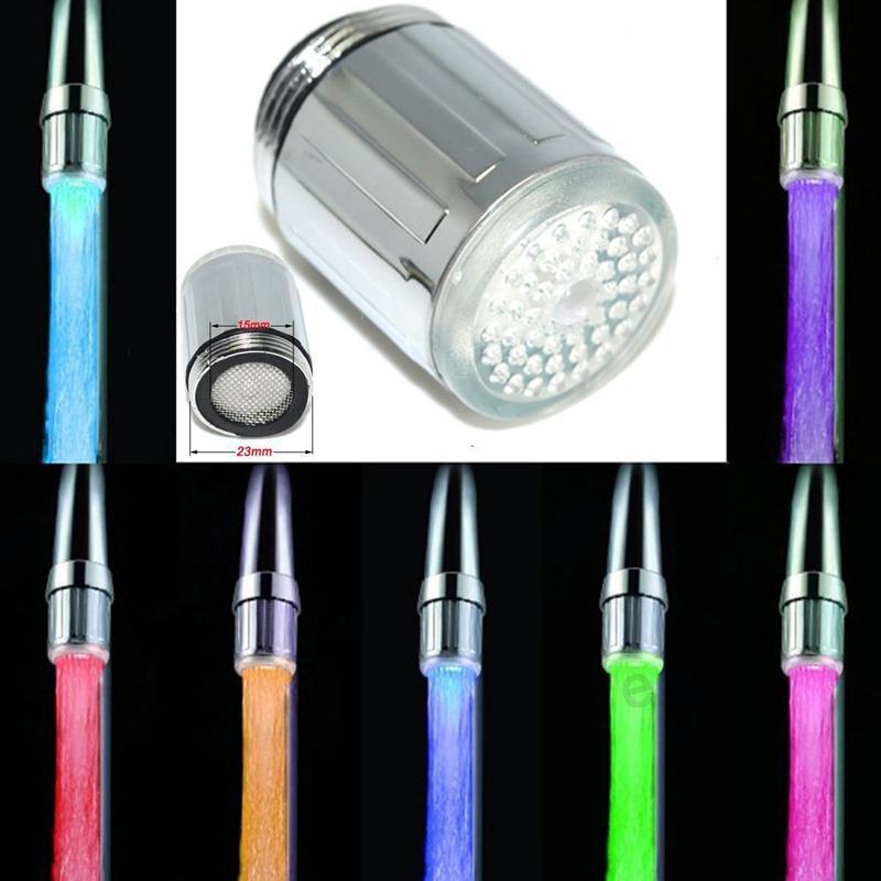 새로운 LED 수도꼭지 패션 3 색 물 발광을 눌러 LED 수도꼭지 라이트 온도 어댑터 DBC BH2866으로 제어 수도꼭지 센서 싱크 수도꼭지 조명