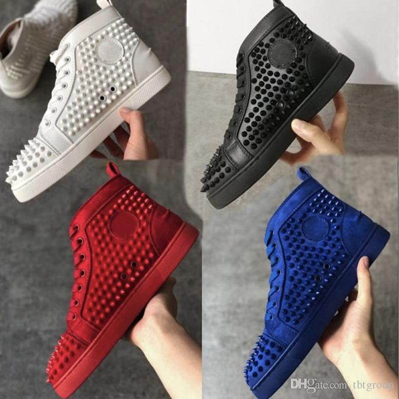 Großhandel Spitze Schuhe Herren Sneaker Suede Spikes Red Bottom Chaussures Schuhe Flats Schuhe Männer Frauen Partei Turnschuhe laufen