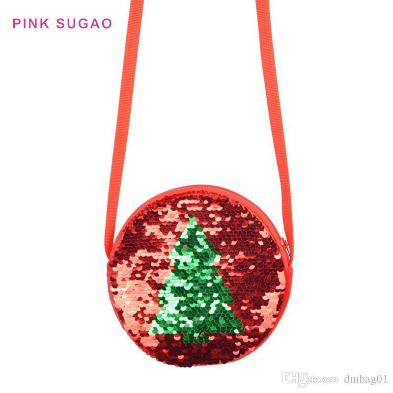 Rosa Sugao bolso ventas calientes de la moneda del bolso de hombro del niño círculo diseñador bolsas pequeñas lentejuelas crossbody árbol de navidad de tirón del niño monedero