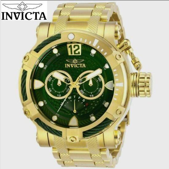 Dropshipping Invicta Modelo: 23863 Big 52 milímetros de discagem Coalition Forças Parafuso híbridos Quartz SS Pulseira Relógios de luxo ouro 18k