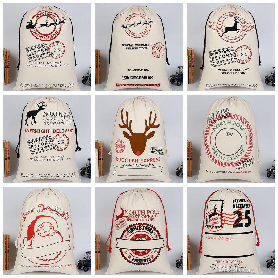 Presentes Xmas cordão lona de Santa Sacks Natal grande lona Monogrammable Papai Noel com cordão saco com renas DH0211